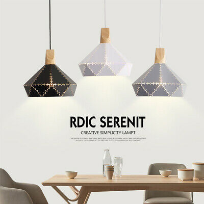 Wood Pendant Metal Ceiling Light Fixture Lamp Chandelier Geometric Diamond