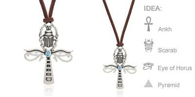 Karsee Egyptian Ankh Cross Pendant Necklace Horus Eye and Ancient Silver