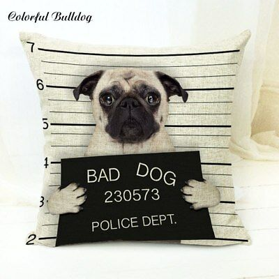 Pug Gifts Cushion Cover - Bad Dog Jail Mug Shot Funny Gift Present Collectables