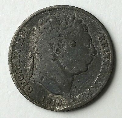 Dated : 1818 - Silver Coin - Sixpence - 6d - King George III - Great Britain