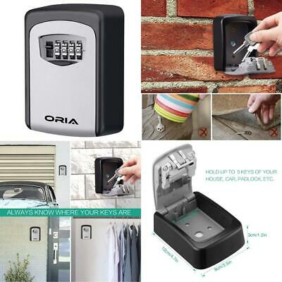 ORIA Key Storage Lock Box, 4-Digit Combination Wall Mounted Resettable Code