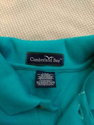 Cumberland Bay Turquoise Golf/Polo shirt Large BARRETT embroidered on chest