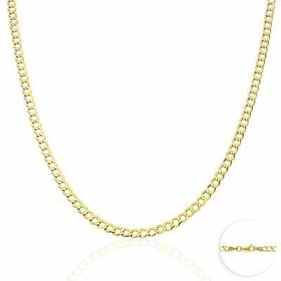 """14k Solid Yellow Gold 4mm Cuban Curb Chain Necklace 16"""" 18"""" 20"""" 22"""""""