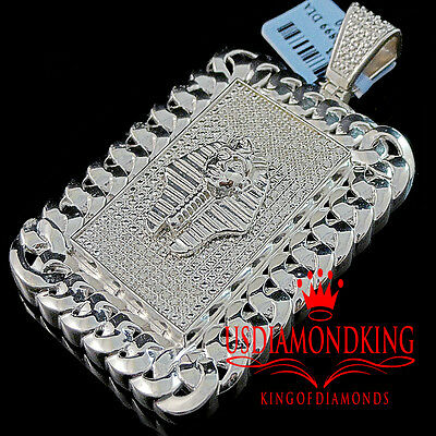 New Mens Genuine Diamond Pendant Egyptian Pharaoh King Tut 10k White Gold Finish