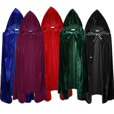 Adult Unisex Velvet Halloween Costumes Cloak Hood Cape Fancy Dress Cosplay Coats