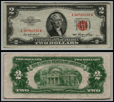 1953 $2 Dollar Bill Old Us Note Legal Tender Paper Money  Red Seal =G768