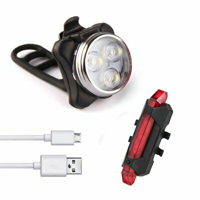 USB Rechargeable LED Bike Bicycle Cycling Front Rear Tail Light Set Waterproof