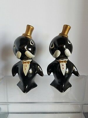Vintage Ceramic Salt And Pepper Shakers Walrus In Tux