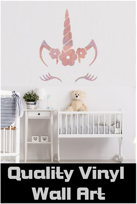 Vinyl Decal Wall Sticker Unicorn Face Name Door Intense Sparkles Rose Gold 2