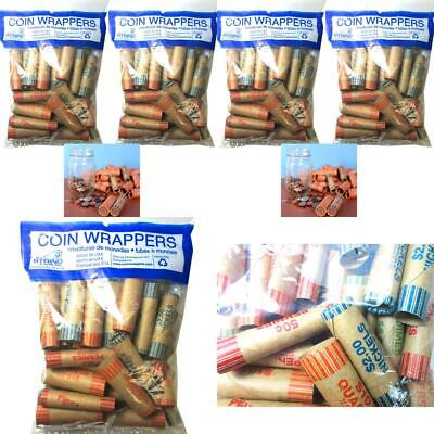 72 Rolls Preformed Assorted Coin Wrappers Tubes Nickels Variable, Tan