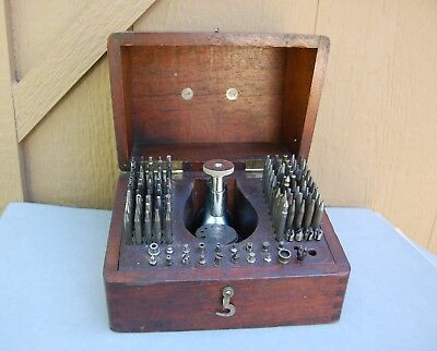 K & D Tool Inverto Watchmaker Jeweler Tool Set Antique Staking in Wood Box Watch
