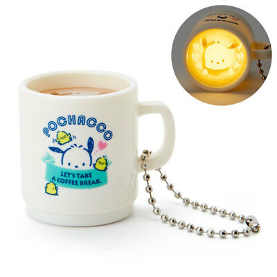 New SANRIO Pochacco Latte Art Mug cup type LED light key holder keychain gift