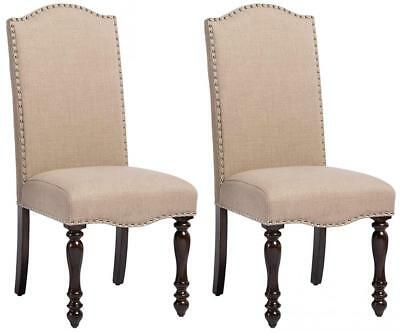 Baxton Studio Set of 2 Zachary Chic French Vintage Oak Brown Beige Linen...