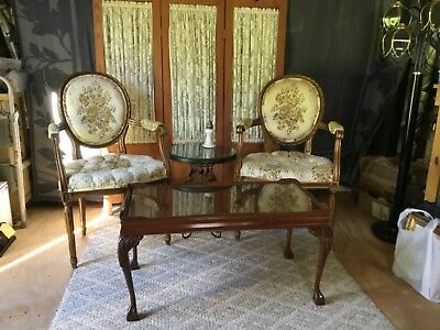 STUNNING Pair Vintage Louis XVI style Gold Fauteuils Armchairs French Tufting