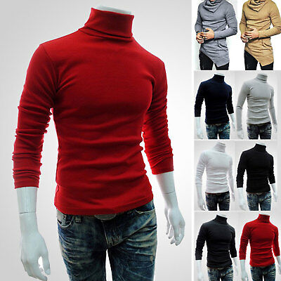 Men Slim Shirts Pullover Jumper High Neck Turtleneck Knit Sweater Tops Blouse US