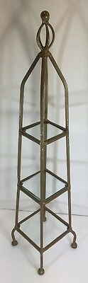 Vtg 3 Tiered Metal & Glass Plant Or Display Stand 23 Inches Tall
