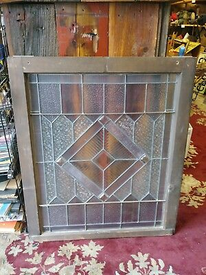 "Antique Leaded And Beveled Glass Window 2 Available Price Each 34"" x 28.5"""