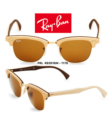 84694e9ace Ray Ban RB3016M 1179 Clubmaster Wood Sunglasses Light Brown Brown 100%  Authentic