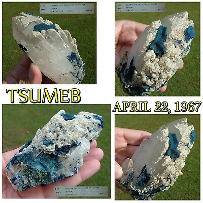 TSUMEB ! Quartz crystal with AZURITE MALACHITE & mystery minerals April 22 1967