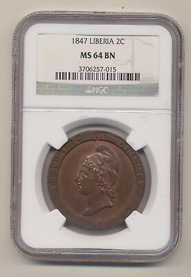 Liberia 1847 2 Cents Ngc Ms64 Bn Km-2