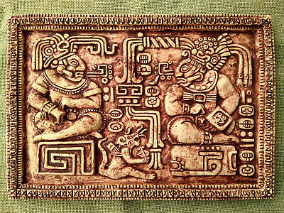 AZTEC MAYAN MEXICO Wall Art Plaque with Figurine on Wood Vintage ...