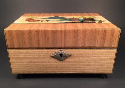 Vintage Japanese Hand Painted  Jewelry Music Box  By Toyo