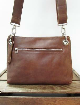 ca2a1c7cacf4 ROOTS Canada Brown Tribe Leather Crossbody Shoulder Bag Zipper Purse Edie   STAIN