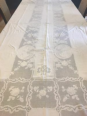 Rare Antique Victorian/ Edwardian Hand Made Embroidered Linen & Lace Tablecloth