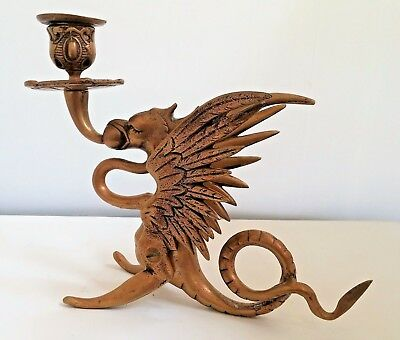 Large Antique  Mythical Brass Winged Dragon Griffin Candle Holder Candlestick