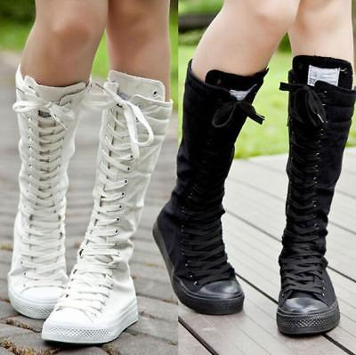New Womens Punk Boots Canvas Lace Up Cool Girls EMO Zip Knee High Sneaker Shoes