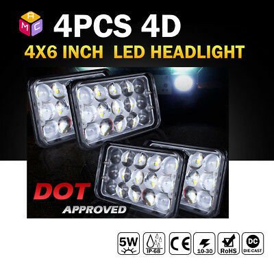 """4PCS Dot Approved 4x6"""" LED Headlights Replacement for H4651 H4652 H4656 H4666 4D"""