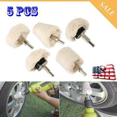 5pc Car Polisher Polishing Buffing Pads Mop Wheel Drill Kit Aluminum Stainless