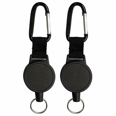 "2X Retractable Key Chain Reel Recoil Pull Badge Reel with 27"" Key Ring Rope"