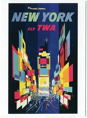 Trans World Airlines Times Square New York 2012 Vintage Travel Poster Postcard