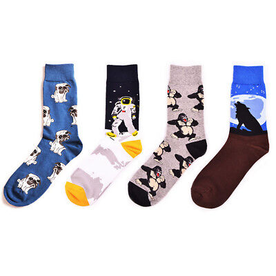 Men Creative Design Funny Socks Plant Chimpanzee Night Pug Animals Long Sokken