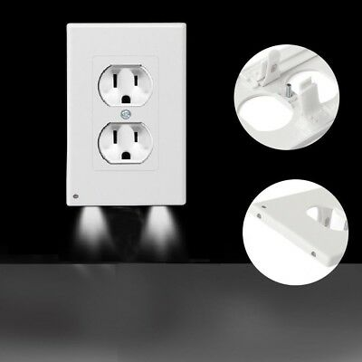4 PACK Outlet Wall Plate Led Night Angle Light Guidelight Cover Built in Sensor
