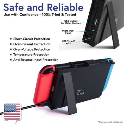 Black Portable 10000mAh Charger Power Bank Case w/Stand for Nintendo Switch