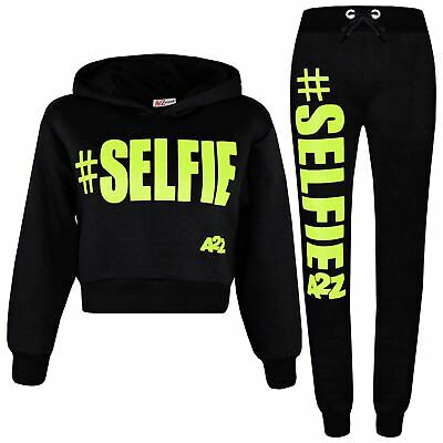 Kids Girls Track Suit #Selfie Black & Neon Green Hooded Crop Top Bottom Jog Suit