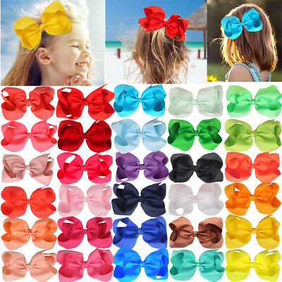 30Pc Baby Girls 6 Inch Big Hair Bows Clip Glitter Cheer Bow Alligator Hair Clips