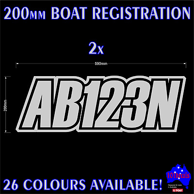 2x200mm Fishing Boat REGISTRATION rego numbers lettering marine decals stickers