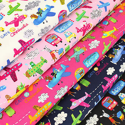 Cotton Fabric FQ Airplane Plane Car Bus Bear Zebra Pig Rat Owl Penguin Zoo VK109