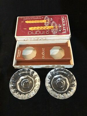 Set Of Vintage Luminarc Candle Holders. Great Condition In Original Box.
