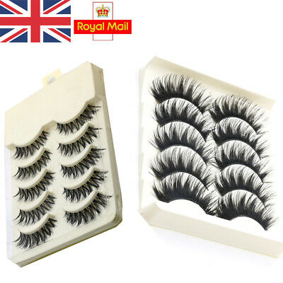 5 Pairs False Eyelashes Set Natural Long Thick Fake Eye Lashes Extension MakeUp