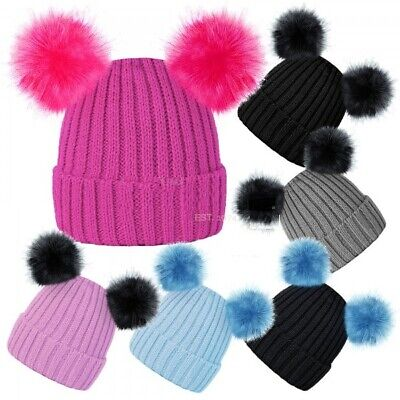 Baby Toddler Girls Boys Kids Knitted Beanie Double Bobble Hat 2 Large Pom Pom