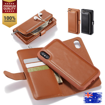 iPhone XS Max XR X 8 Magnetic Zipper Leather Card Holder Flip Wallet Case Cover
