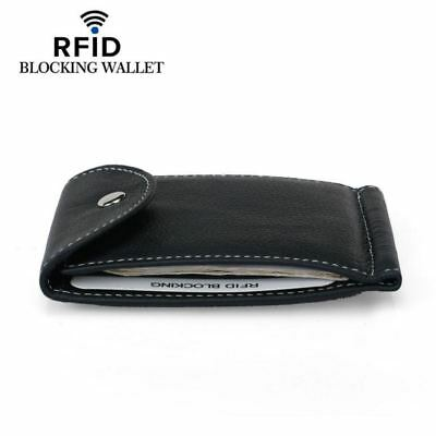 Mens Bifold Leather RFID Blocking Slim Wallets with Money Clip Coin Pocket