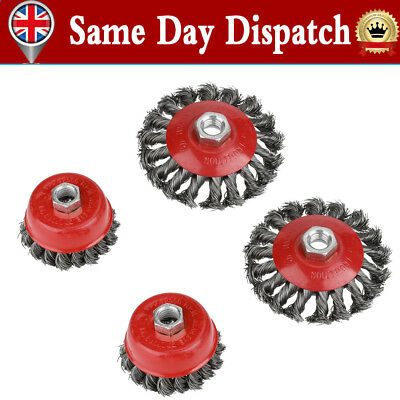 4 Twist Knot Flat Cup Steel Wire Wheel Brush Set for Angle Grinder Rust Removal