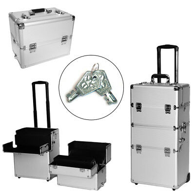 4-in-1 Aluminum Rolling Makeup Case Cosmetic Trolley Carry Organizer Train Box