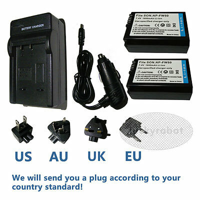 2x NP-FW50 Battery + Carr&Home Charger for Sony NEX5 NEX-7 A7 II A7R A6000 A6300
