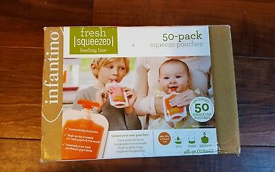 Infantino 208-102 Squeeze Pouches 50 Count Fresh BabyFeeding Puree 4fl